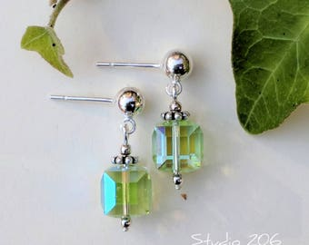 Lime green iridescent crystal earrings