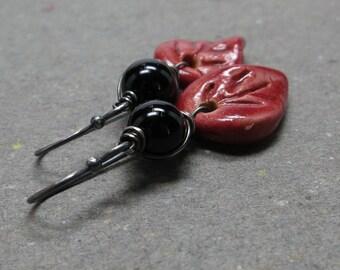 Red Ceramic Leaf Earrings Black Onyx Oxidized Sterling Silver Rustic Boho Earrings Gift for Her