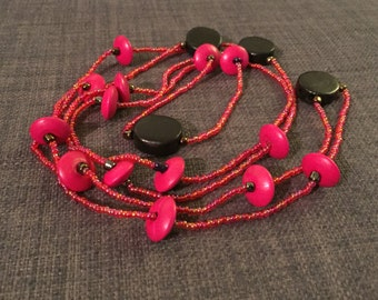 Long Pink and Black Drop Bead Necklace