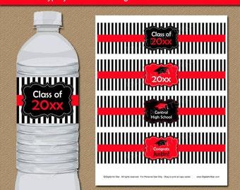 Graduation Water Bottle Label Template - Graduation Drink Labels - Downloadable Graduation Water Labels - DIY Graduation Party Decoration G4