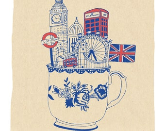 London Teacup Art Print - 5x7, 8x10, 11x14