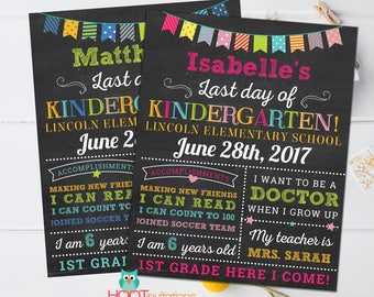 Last day of School sign, School Graduation poster, Last day of school chalkboard, Kindergarten Graduation Sign ANY AGE