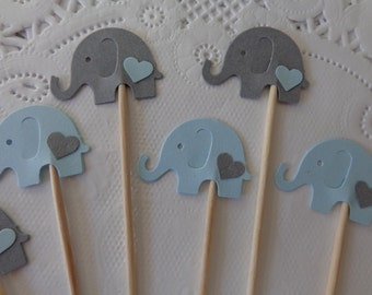 24 Light Blue and Grey Elephant Cupcake Toppers with Hearts - Food Picks - Party Picks - Elephant Shower Decorations - Baby Sprinkle