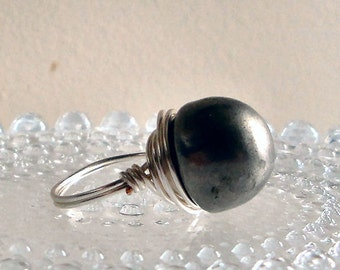 Silver Button Ring - Vintage Antique Silver Gun Metal Dome Bullet Button - Wire-Wrapped with Bright Silver Wire - Custom Size Made to Order