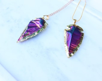 Titanium Arrowhead Pendant Necklace Purple Arrowhead Statement Boho Necklace