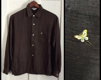 Vintage 1950's Rockabilly Mens Shirt size Medium Brown Black Fleck with Butterfly