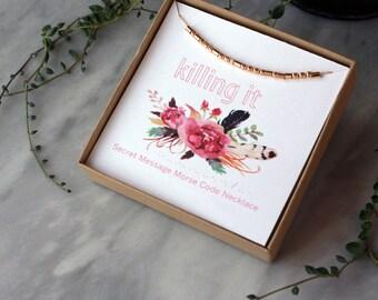 Morse Code Necklace, KILLING IT, Secret Message Necklace, Inspirational Jewelry, Morse Code Jewelry, Sterling Silver 14k Gold Filled