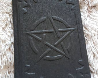black leather grimoire pentagram