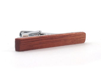 Wooden Tie Clip - Vintage tie clip-Mahogany - Tie Bar- Gifts for Him- made in the USA- hand crafted