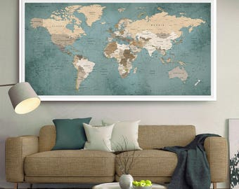 World Travel Map, World Map Push Pin, World Map Wall Art,  Large World Map Art Poster (L131)