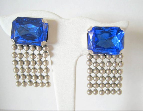 Sterling Silver Earrings, Blue Sapphire Glass Stones, Sterling Bead Dangles