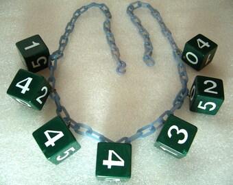 Vintage celluloid & early plastic art deco dice necklace - bakelite style