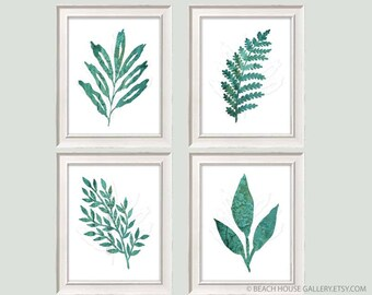 Kitchen Wall Decor, Rustic Farmhouse Kitchen Wall Art, Emerald Leaves Art Print, Green Wall Art, Dark Green Living Botanical Leaves