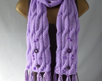 Embellished Cable Scarf E841