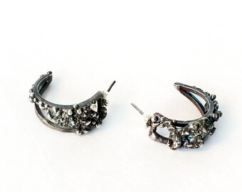 Textured Patina Sterling Silver Half Hoop Earrings