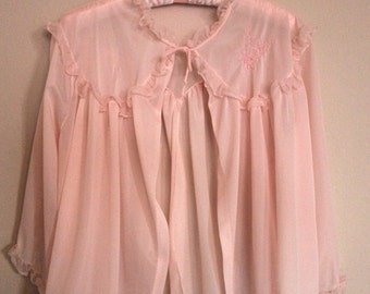 Vintage Baby Pink Sheer Bed Jacket With Floral Embroidery and Ruffles