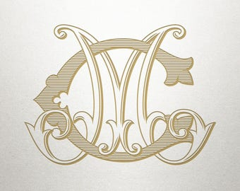 Custom Bridal Monogram - CM MC - Bridal Monogram - Vintage