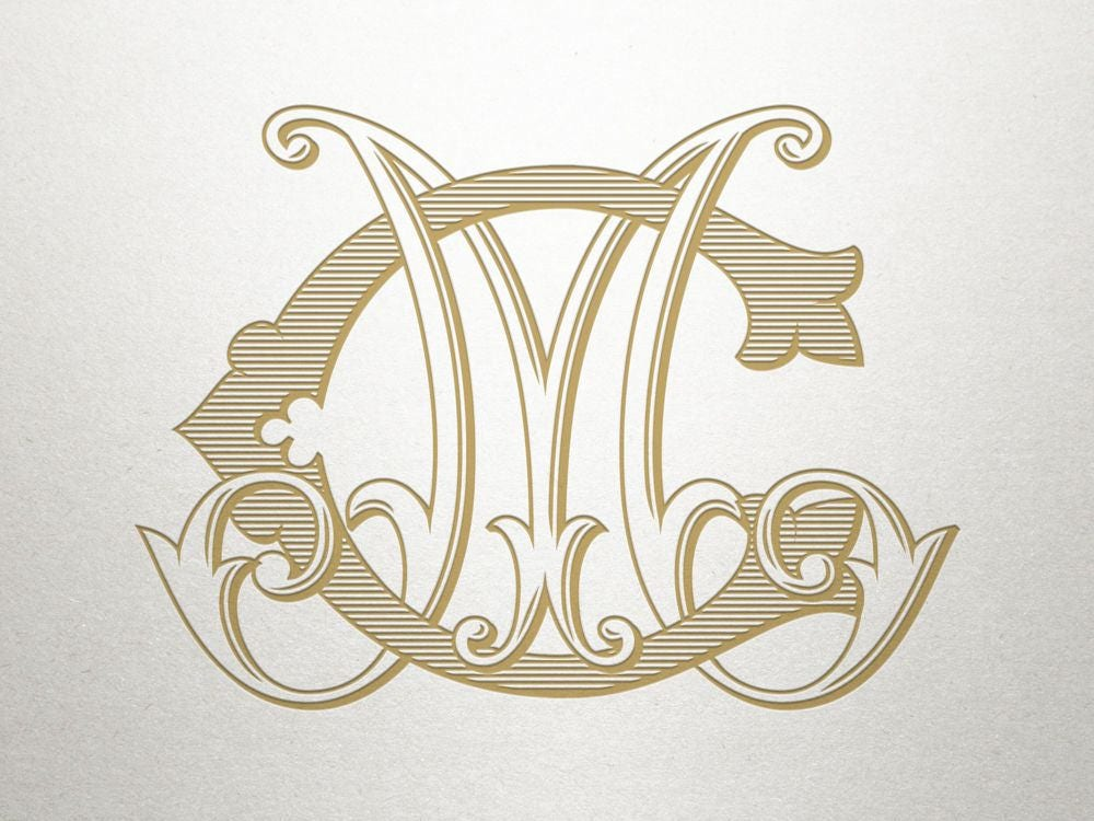 Gift Ideas For Mc At Weddings: Custom Bridal Monogram CM MC Bridal Monogram Vintage