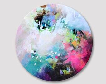 Originele abstracte schilderkunst, circulaire abstracte illustraties, acryl kleurrijke ronde doek, ronde kunstwerk, appelgroen turquoise fuchsia