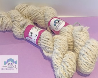Quebec Alpaca 100% wool 3 ply twisted has 3 strands aran weight natural color white