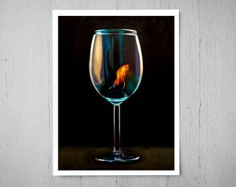 Goldfish Wine Glass - Fine Art Oil Painting Archival Giclee Print Decor by Artist Lauren Pretorius