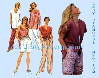 Simplicity 9518 Womens 2 Hour Tank Top Over-shirt Pants Shorts size 6 8 10 12 14 16 or 18 20 22 24 Vintage Summer Sewing Pattern Uncut FF