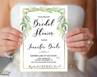 Greenery Bridal Shower Invitation Printable Foliage Bridal Shower Invite Green Gold Bridal Shower Botanical Bridal Invite Digital or Printed
