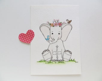 Sing Me a Lullaby nursery decor,Boho nursery, nursery painting, watercolor painting, ORIGINAL painting, baby elephant, childrens wall decor,
