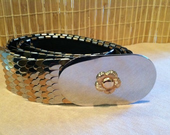"Vintage 70's ""MAROHAL METAL"" Metallic Two Tone Fish Scale / Cinch Belt with Cherry Blossom Center Buckle - So Retro"