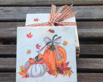 Pumpkin coasters/Thanksgiving coasters/Fall coasters/Harvest coasters