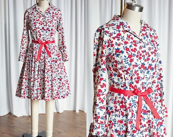 Back To Me dress | vintage 60s dress | floral cotton 1950s dress | red white blue floral print 50s dress | full skirt 1960s shirtwaist dress