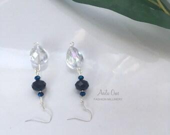 Crystal drop earrings, Special occasion earrings, Blue drop earrings- E-SCB19