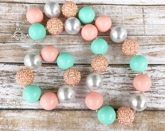 Peach and Mint Bubblegum Necklace, Baby Girl Chunky Necklace, Toddler Jewelry, First Birthday Chunky Bubblegum, Kids Gift, Baby Gift Id