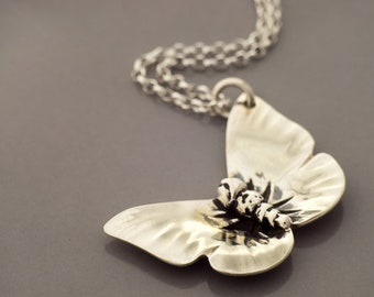 Silver Hand-Crafted Butterfly Pendant