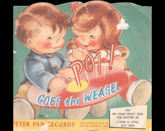 Pop Goes the Weasel - Vintage 78 rpm Peter Pan Nonbreakable Children's Record - Maroon Colored Vinyl c. 1950