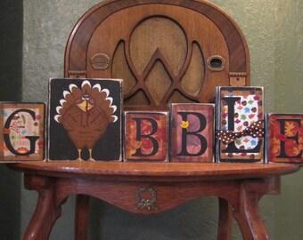 Gobble Thanksgiving Sign Word Blocks