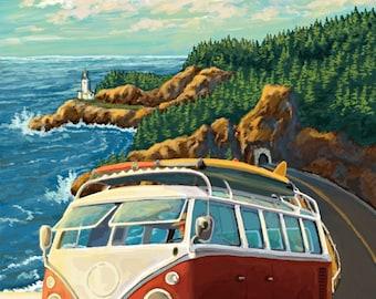 Whidbey Island, Washington - Coupeville - VW Van - Lantern Press Artwork (Art Print - Multiple Sizes Available)