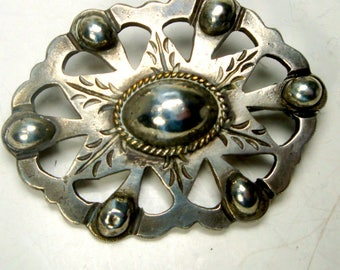 TAXCO Silver Cowgirl Brooch, Old West USA Pin, 1950s, Classic Sw USA , Mexico, Maybe Sterling, 6 Pt Jewish Star