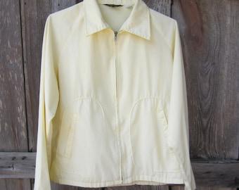 60s Preppy Wind Breaker Jacket in Pale Canary Yellow by Gahn Blair Menswear, Men's M-L // Vintage Casual Jacket