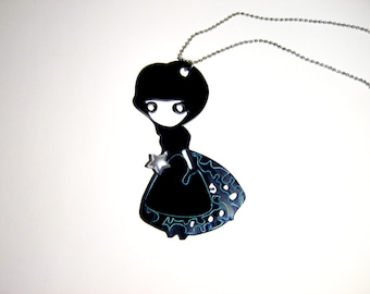 Black doll necklace, Doll pendant necklace, Cartoon necklace, Anime pendant, Manga pendant, fashion necklace, harajuku necklace, harajuku