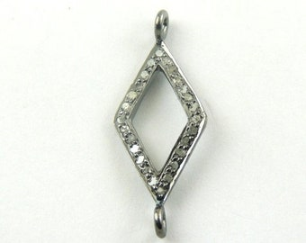 MEMORIAL DAY SALE 1 Pc Pave Diamond Double Bail Connector 925 Sterling Silver - 27mmx11mm Pdc420