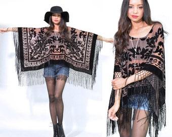 Sheer Nude Fringe Silk Burnout Velvet Hippie Boho Gypsy Festival Cape Poncho