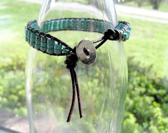 Turquoise Leather Wrap Bracelet