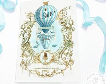 Hot air balloon card, vintage flight, travel card, steampunk, bon voyage card, French, birthday card, Le Ballon, blank all occcasion card