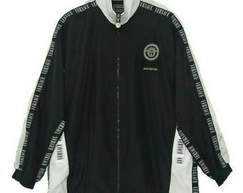 Vintage Versace Jeans Couture Track Jacket / Windbreaker Medusa Embroidery Big Logo Black White