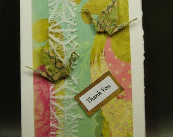 Thank You Card/ Origami Cranes Card/ Love Cranes Card/ Hand Made Card/ Art Card