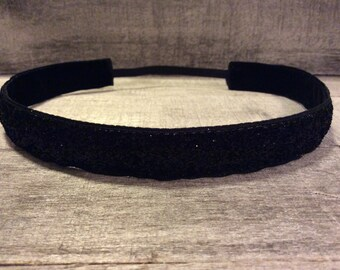 Black Sparkle Nonslip Headband, Noslip Headband, Sparkle Headband, Sports Headband, Running Headband, Athletic Headband