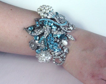 Gorgeous Aquamarine Blue Rhinestone Wedding Bracelet Cuff From Vintage Jewels