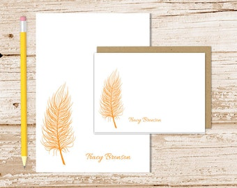 feather personalized stationery set . quill feather notepad + note card set . silhouette notecard note pad stationary . gift set