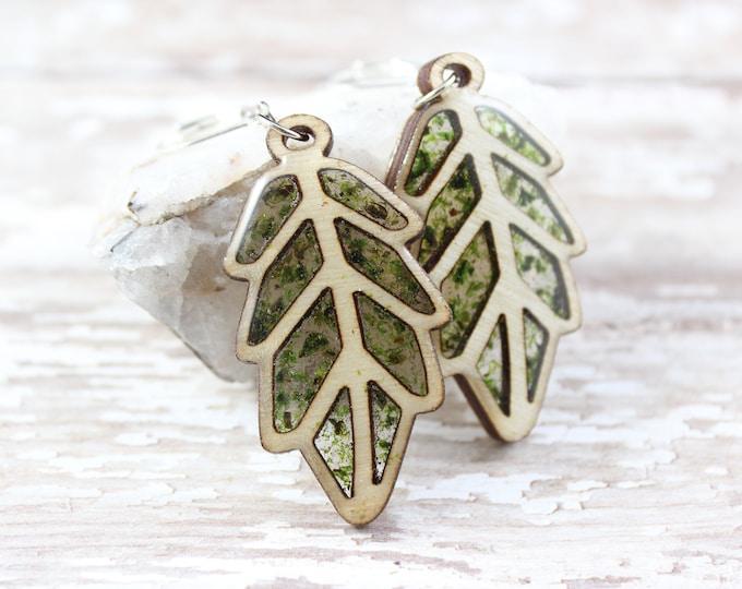 Skinny Wooden Leaf Earring